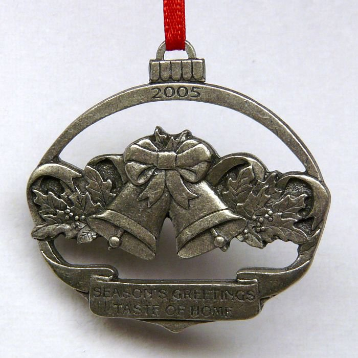 Taste of home pewter christmas ornament bells oval