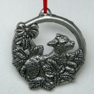 pewter look Christmas ornament round lamb holly openwork