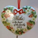 vtg Hallmark Christmas ornament Mother heart porcelain 1989