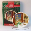 Hallmark Christmas Cookies For Santa 1990 Collector's Series 4 porcelain mini plate stand box