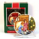 Hallmark Christmas Morning of Wonder 1989 Collector's Series 3 porcelain mini plate stand box
