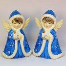 2 Vtg Christmas Novelty figurines girl angel Victorian style Japan ceramic