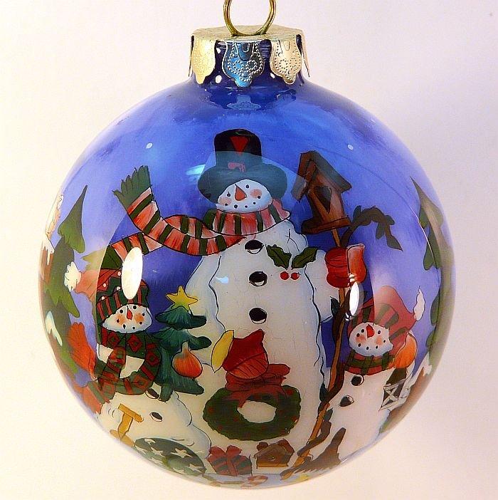 Li Bien reverse painted snowman Christmas ornament