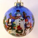 GKI Bethlehem Glass Christmas ornament reverse painted snowmen