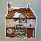 vtg Dept 56 Christmas ornament tin embossed Shops of Dickens 1984 Beesley Butcher