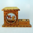 Vintage Sicilian donkey cart scene souvenir decoration wood handmade candle holder Sicily