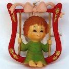 Vtg Christmas Ornament Angel on Swing Bradford Novelty 1980s