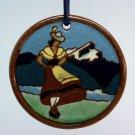 Vintage Christmas Ornament Bavarian Mountains Alpine girl souvenir glazed pottery Germany Alps