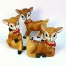 3 vintage Homco Reindeer figurines Christmas bisque porcelain 5606