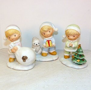 3 Homco Christmas Winter Kids figurines bisque porcelain 5613