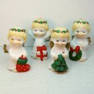 vintage 4 Christmas Cherubs ornament figurines Jamestown China bisque porcelain 1990
