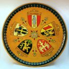 vtg Germany wooded plate wall plaque town crests Frankfurt Heidelberg Munich Mannheim Kaiserslautern