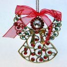 vintage angel Christmas ornament rhinestone jeweled enamel metal openwork chain hanger