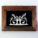 Folk Art Scherenschnitte paper cutting silhouette forest scene framed signed DC 1983 hand cut