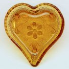 Vintage Indiana Glass small dish Tiara pattern amber heart shape bridge ashtray nut candy