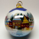 Li Bien reverse painted scenic Houses Christmas ornament 1999