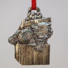 vintage Metzke pewter kitten Christmas ornament 1986