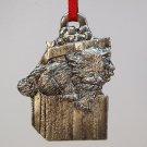 vintage Metzke pewter kitten Christmas ornament 1986