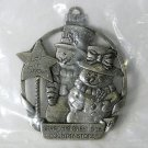 Country Store 2006 pewter Christmas ornament snowman and snowlady NIP