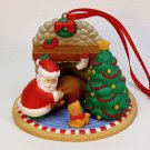 vintage Christmas ornament Santa coming down chimney cat tree