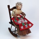 vtg cornhusk doll old lady in rocking chair gray hair striped dress quilt handmade