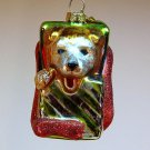 Dept 56  ornament shepherd puppy in a present Tiny Trimmings mini glass dog