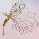 wire angel Christmas ornament hand crafted with light green bead heart gold tone