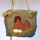 vintage slate chicken on nest with eggs Christmas ornament hand crafted and painted