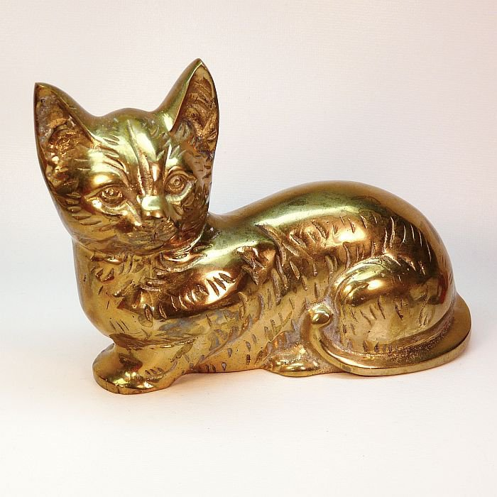 vtg Penco India large brass cat figurine heavy