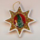 vintage star Christmas ornament girl with tree