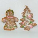 2 vintage Christmas ornaments gingerbread girl tree glitter plastic