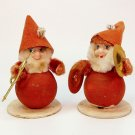 2 vintage gnome Santas musical instruments spun cotton chenille Christmas figurine Japan