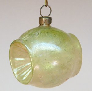 antique double indent barrel blown glass Christmas ornament light green and gold small