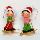 2 vtg Christmas ornaments wooden Taiwan skiers knit hats
