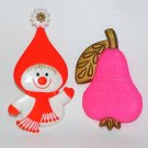 2 vtg 1960s Hallmark Christmas decorations snowlady pear neon pink red mid cemtury modern
