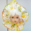 Lovely lady doll head face Christmas ornament hand crafted white hair