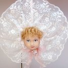 Doll head Christmas ornament hand crafted blonde hair white lace