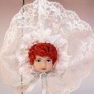 Lovely lady doll head face Christmas ornament hand crafted red hair beige and white lace redhead