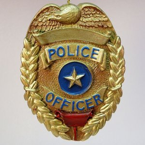 Vanmark Police Officer Badge Christmas ornament  PE89114 2000 Blue Hats of Bravery