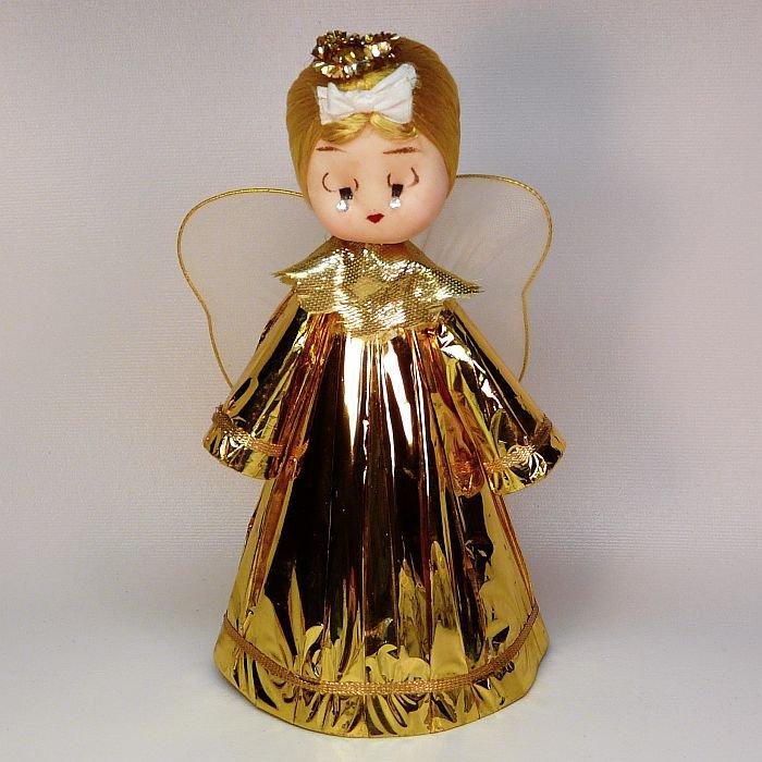 vintage angel tree topper made in Japan gold color blonde