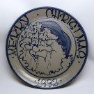 Vintage Beaumont Pottery Santa Chrismas plate 1992 salt glaze stoneware Ohio