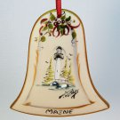 vintage Joan Phillips hand painted ornament Christmas porcelain Maine lighthouse bell shape signed