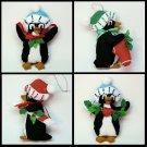 4 penguin Christmas felt ornaments handmade bead accents