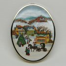 vtg Hallmark Friendship Satin Ornament 1985 padded fabric acrylic back farm town winter scene no box