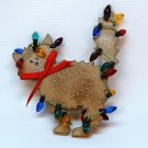 Christmas pin handmade cat kitten tan tree lights
