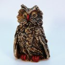 vtg owl figurine with googly eyes cast resin