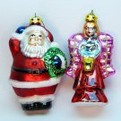 2 Christmas ornaments Santa and Angel Trim A tree blown glass