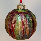 artisan made glitter Christmas ornament olive green gold red blue purple