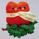 Hallmark ornament Our Christmas Together 1994 red birds cardinals QX4816 clip on box