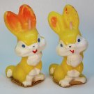 2 vintage Gurley Easter bunny rabbit candles yellow
